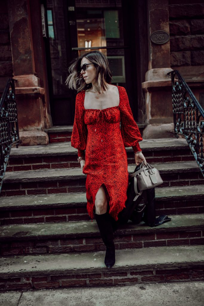 Seattle Fashion Blogger Sportsanista wearing AFRM Midi Dress and Kate Spade Suede Boots