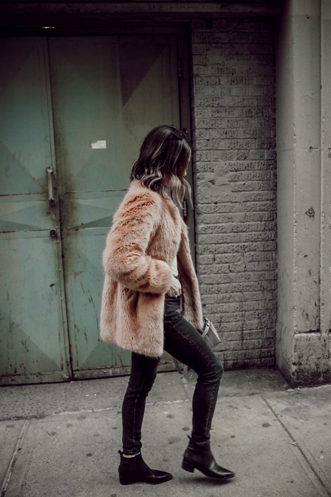 Seattle Fashion Blogger Sportsanista wearing Ann Taylor Faux Fur Coat and Everlane High Waisted Denim