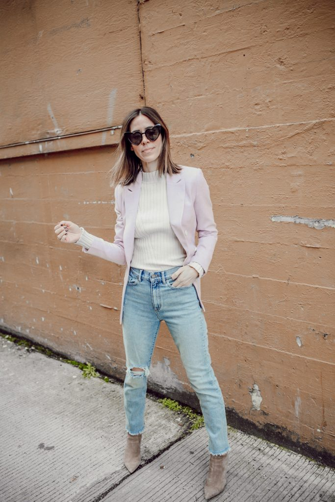 Seattle Fashion Blogger Sportsanista wearing BCBGMAXAZRIA Women's Ava Bootie Ankle Boot and H&M Double Breasted Lilac Coat