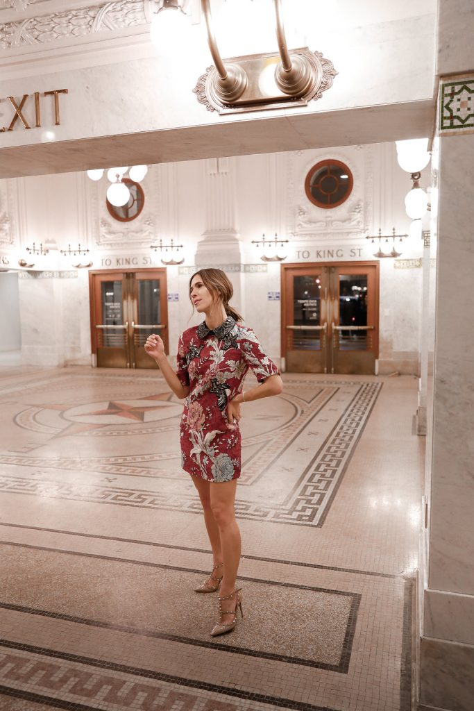 Blogger Sportsanista wearing Zara Women's Jacquard patches dress and Valentino Rockstud pumps