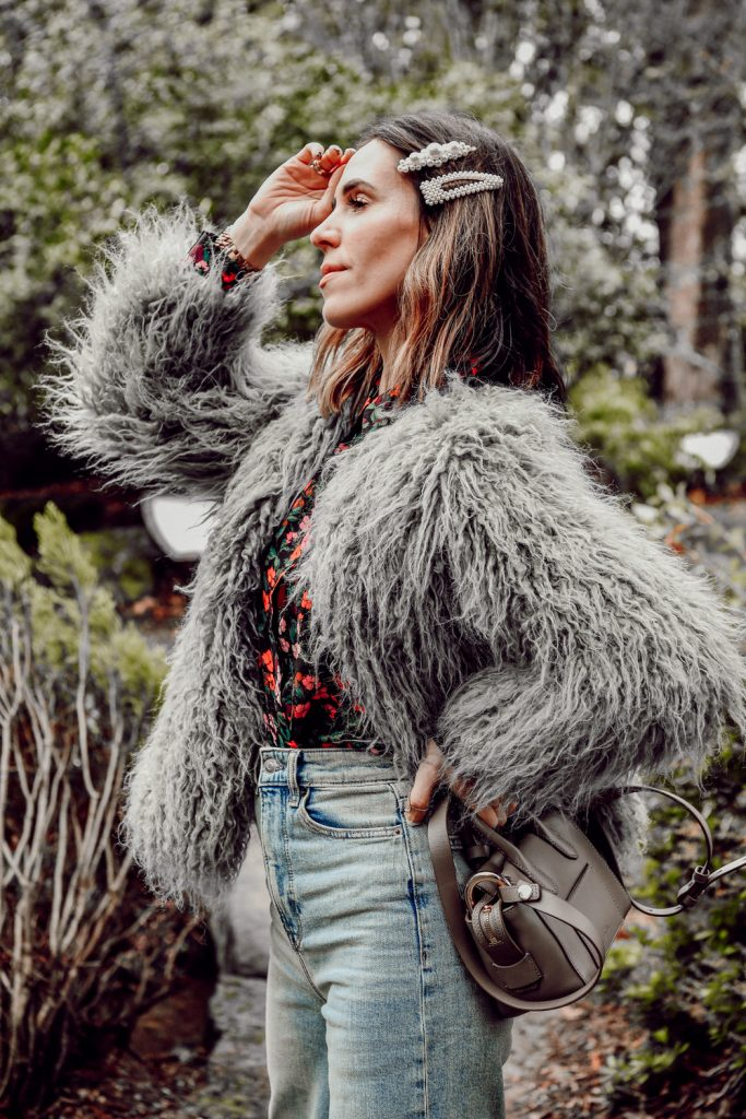 Seattle Fashion Blogger Sportsanista wearing Jakke Heather Mongolian Faux Fur Coat and Banana Republic Parker Tunic-Fit Floral Washable Silk Shirt