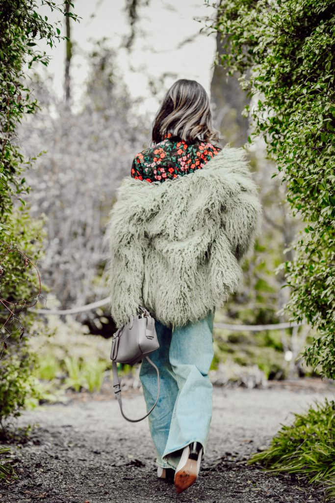 Seattle Fashion Blogger Sportsanista wearing Urban Outfitters Jakke Heather Mongolian Faux Fur Coat and J.Crew Mini Harper Tote