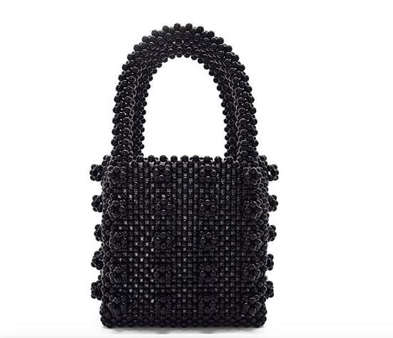 Miuco Womens Beaded Handbags Handmade Weave Crystal Pearl Tote Bags