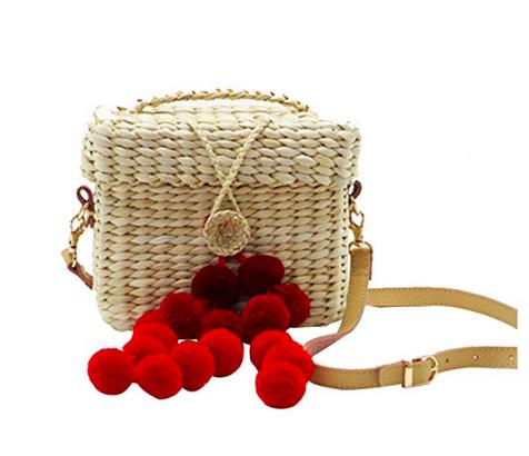 Womens Straw Handbag Handmade Mini Crossbody Bag with Plush Ball