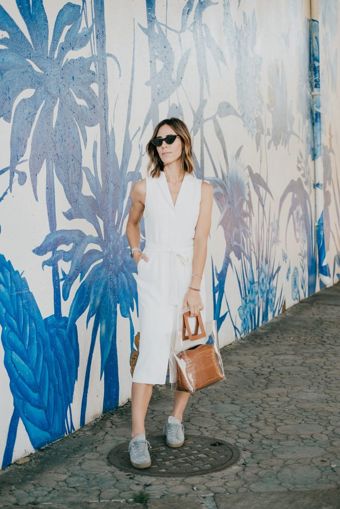 Seattle Fashion Blogger Banana Republic TENCEL Trench Dress and Staud Shirley Bag