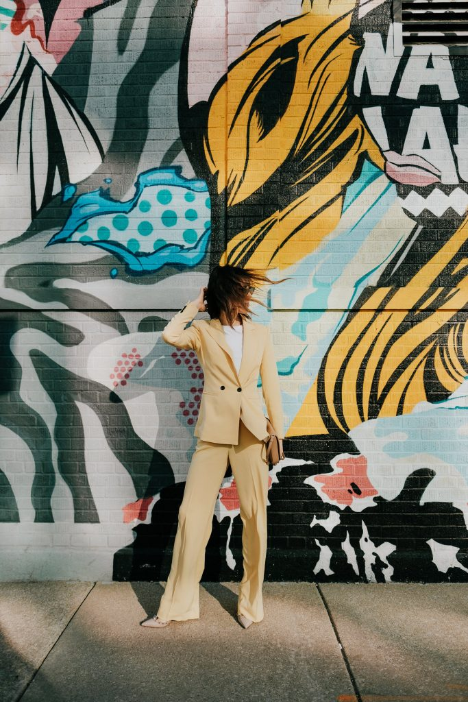 Seattle Fashion Blogger Sportsanista wearing H&M Light Yellow Double Breasted Blazer and Dress Pants
