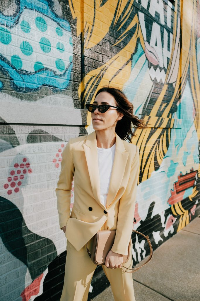 Seattle Fashion Blogger Sportsanista wearing H&M Light Yellow Double Breasted and Pastel Suiting for Spring