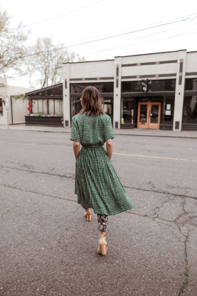 Seattle Fashion Blogger wearing Scotch and Soda outfit with printed dress and yellow heeled sandals