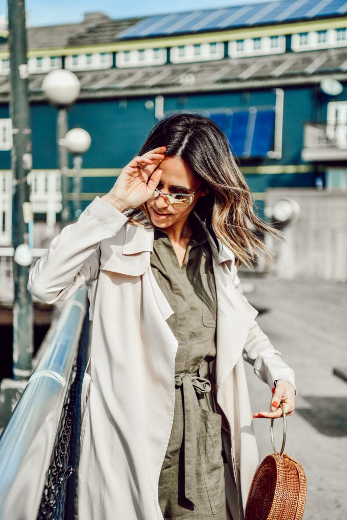 Seattle Fashion Blogger Sportsanista wearing Badgley Mischka Faux Leather Trim Long Trench Coat and H&M Cargo Jumpsuit