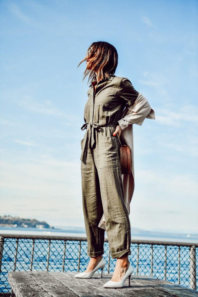 Seattle Fashion Blogger Sportsanista wearing H&M Cargo Jumpsuit and Banana Republic Madison 12 hour Pump