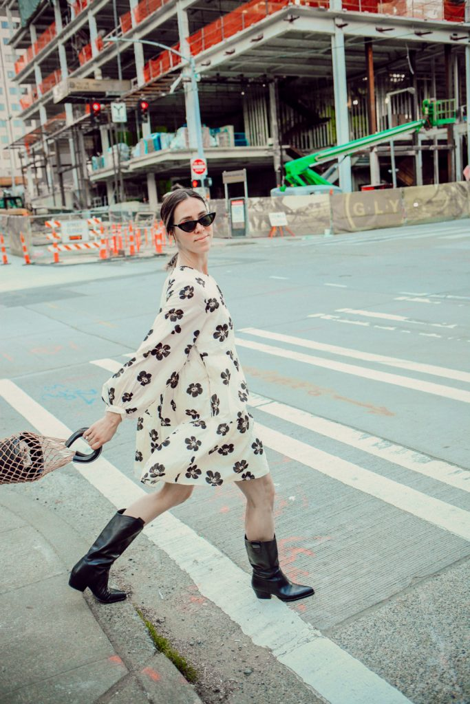 Seattle Fashion Blogger wearing Who What Wear Smock Dress and styled with Western Style Boots