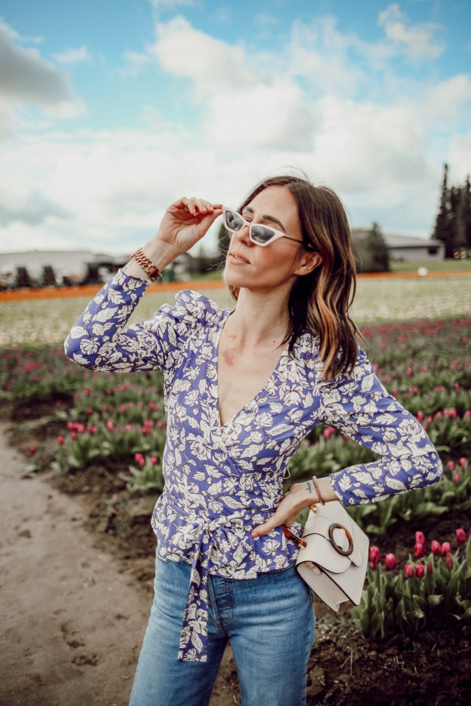 Seattle Fashion Blogger Sportsanista wearing ASTR Puff Sleeve Floral Wrap Top and ASOS DESIGN cat eye sunglasses with square frame