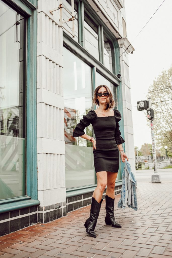 Seattle Fashion Blogger Sportsanista wearing J.O.A. SMOCK PUFF SLEEVE BODY-CON MINIDRESS and Schutz Western Boots
