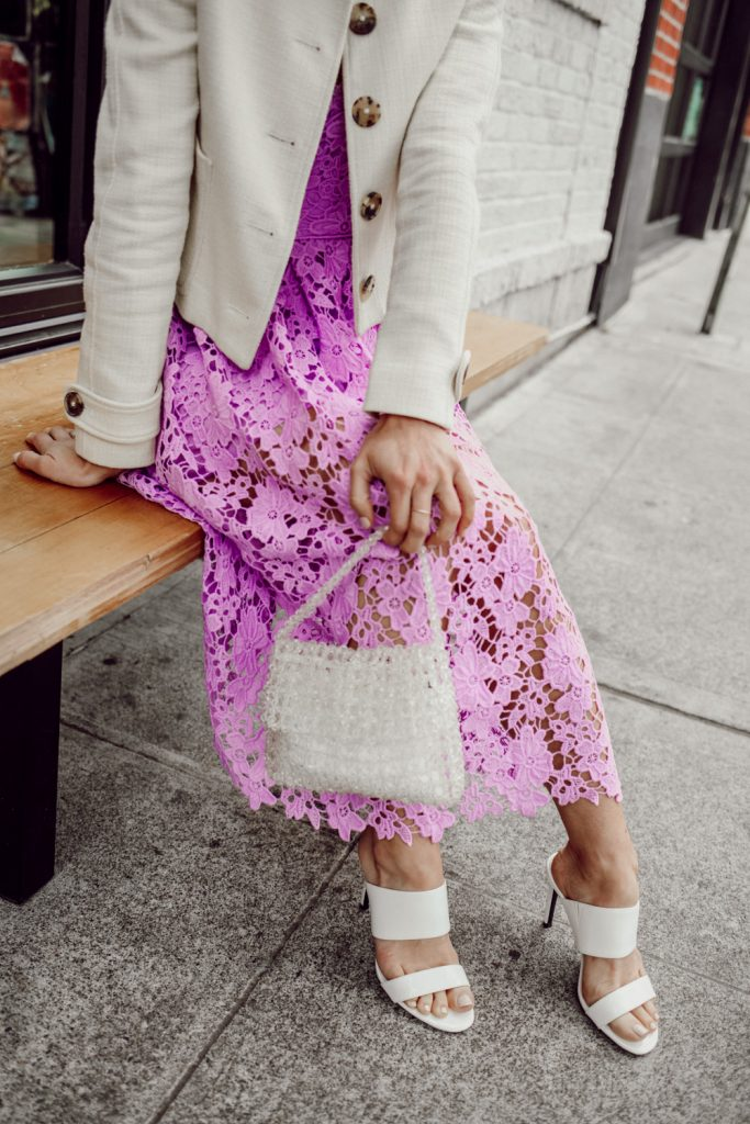 Seattle Fashion Blogger Sportsanista wearing Sam Edelman Violet Mini Bag and Calvin Klein Women's Rema Heeled Sandal