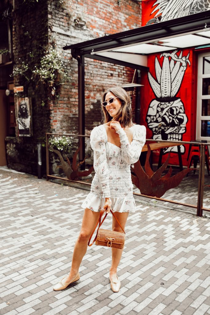 Seattle Fashion Blogger Sportsanista wearing Rattan Woven Crossbody Bag and Chanel Ballerina Flats