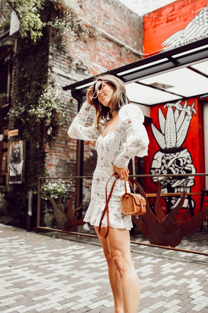 Seattle Fashion Blogger Sportsanista wearing For Love and Lemons Dixon Mini Dress with Rattan Woven Crossbody Bag
