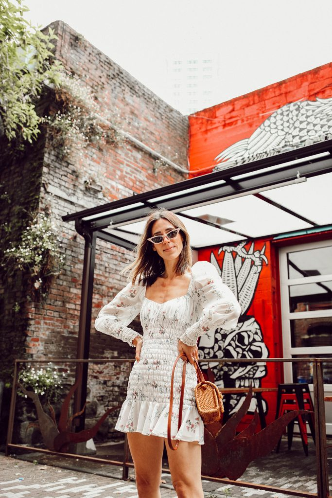 Seattle Fashion Blogger Sportsanista For Love and Lemons For Love and Lemons Dixon Mini Dress with Cat Eye Sunglasses