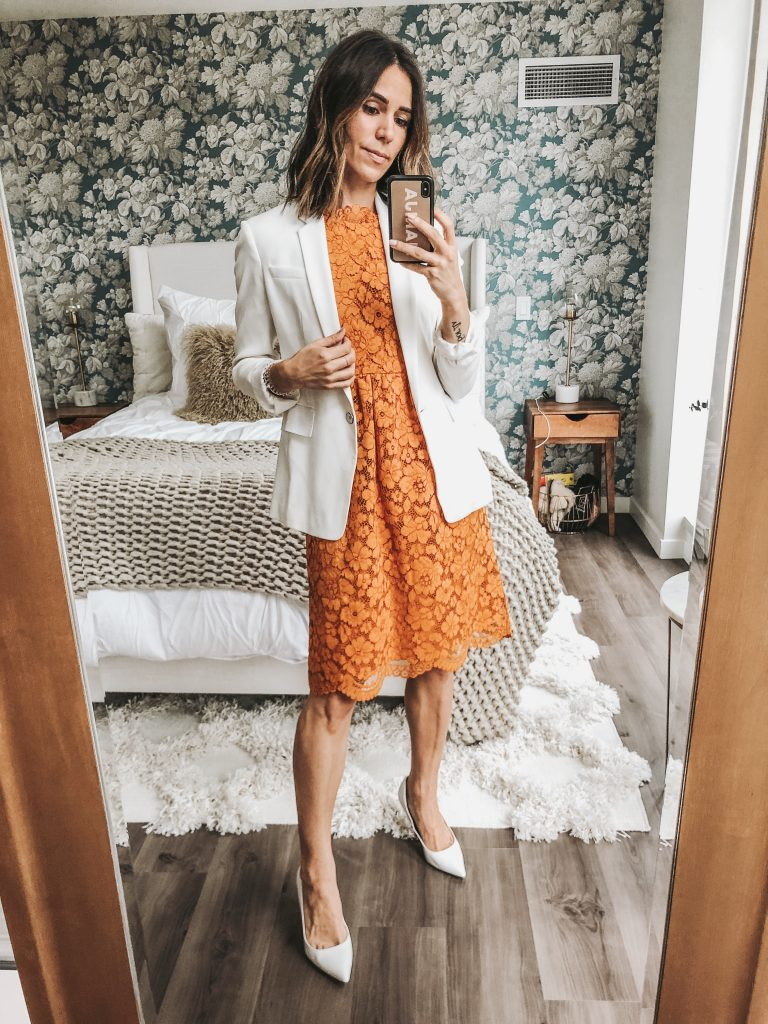 Seattle Fashion Blogger Sportsanista wearing yellow lace dress with white blazer for work wear inspiration.