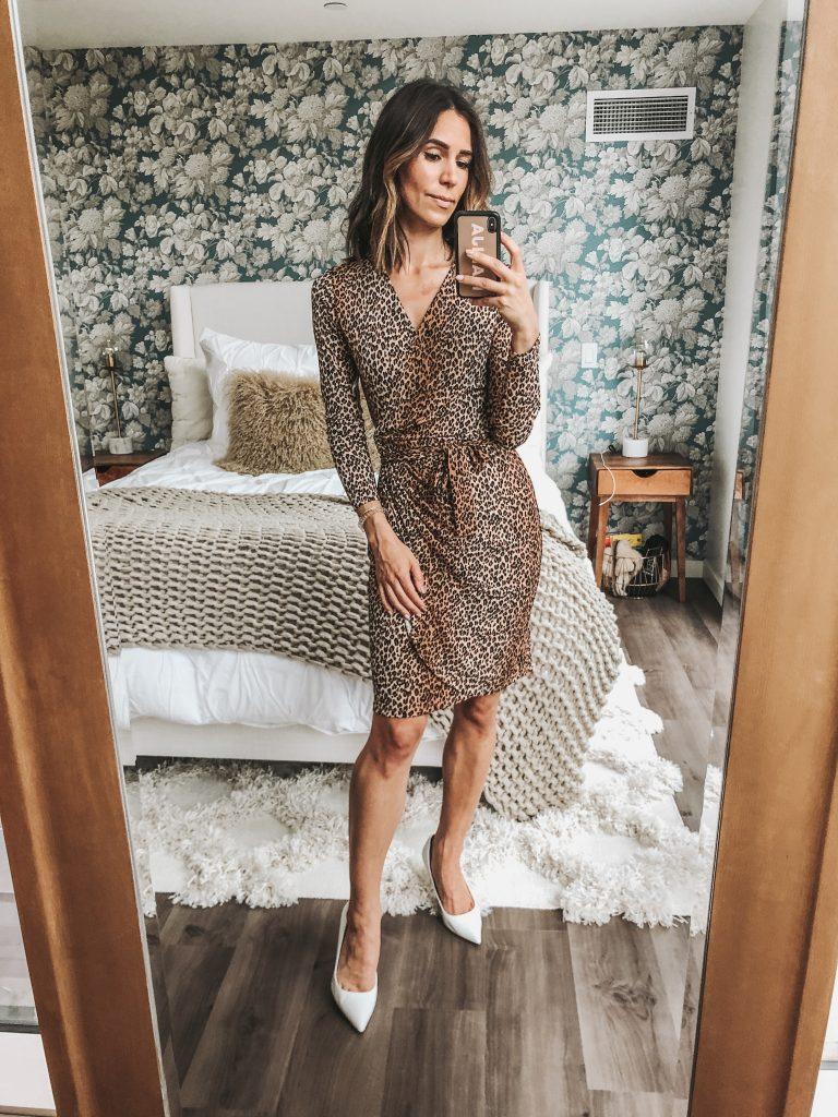 Seattle Fashion Blogger Sportsanista wearing Leopard Wrap Dress from Amazon