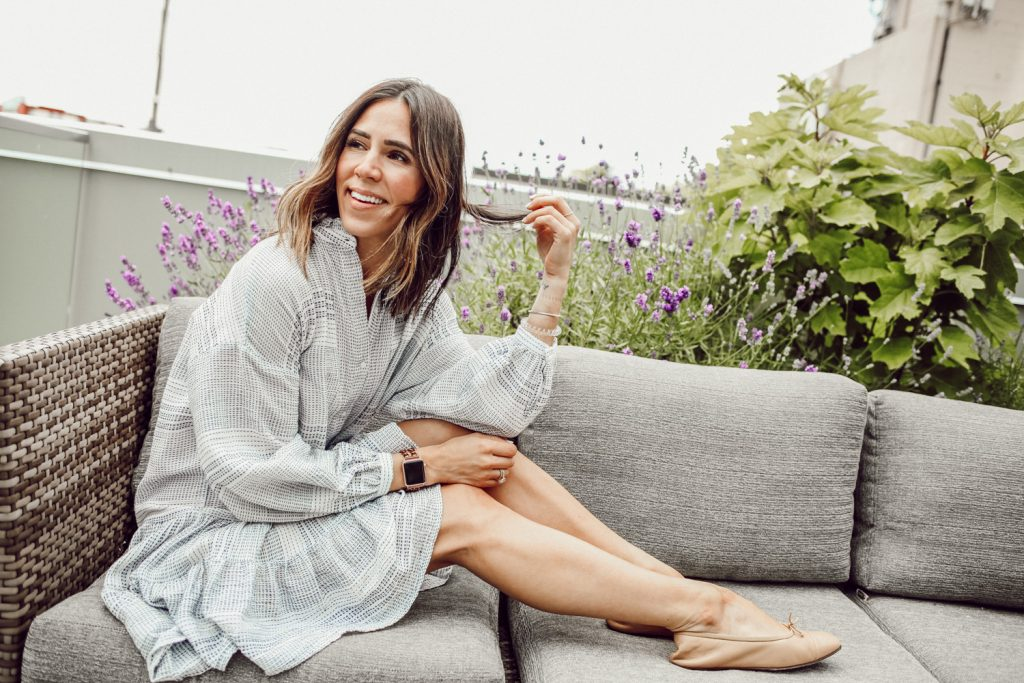 Seattle Fashion Blogger Sportsanista wearing H&M Wide Flounced Tunic and Chanel Tan Flats on Patio during Summer