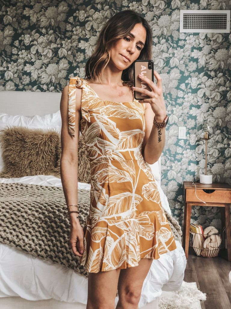 Seattle Fashion Blogger Sportsanista wearing marigold palm leaf print dress for summer