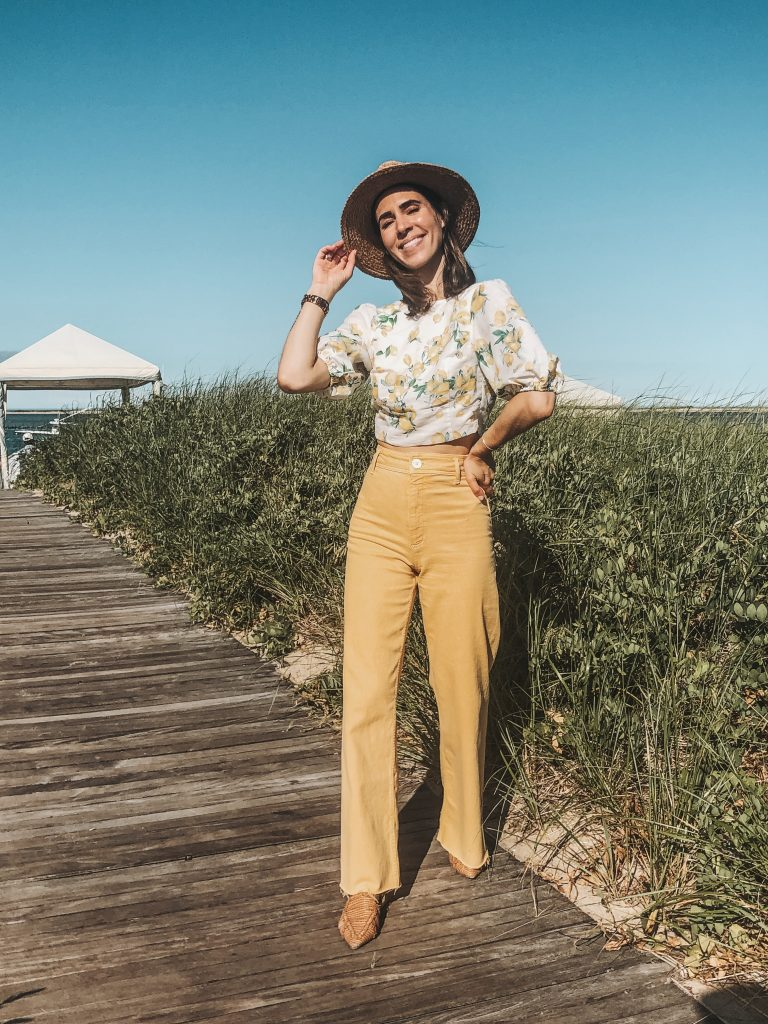 Seattle Fashion Blogger Sportsanista wearing H&M Linen Lemon Top and Zara Yellow High Wasisted Denim in Cape Cod