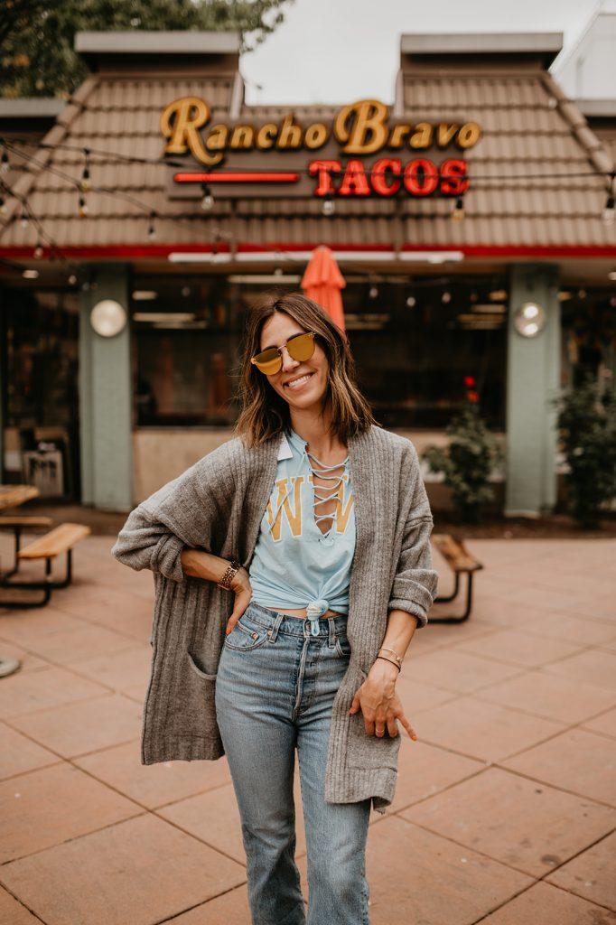 Seattle Fashion Blogger Sportsanista wearing College Game Day Fashion