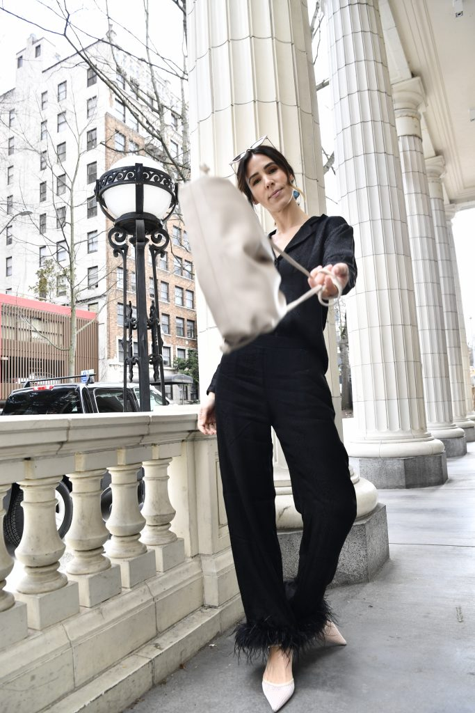 Blogger Sportsanista wearing silk pajamas with wearable trim for spring fashion ideas